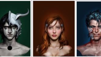 Bleach : Portraits réalistes des personnages de Grimmjow, Ulquiorra et Orihime