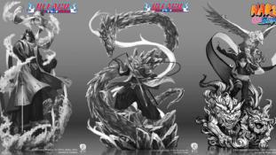 Concepts arts de Byakuya, Toshirô (Bleach) et Sai (Naruto) par Ryu Studio