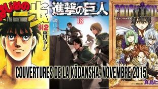 Couvertures de la Kōdansha: Mois de Novembre 2015