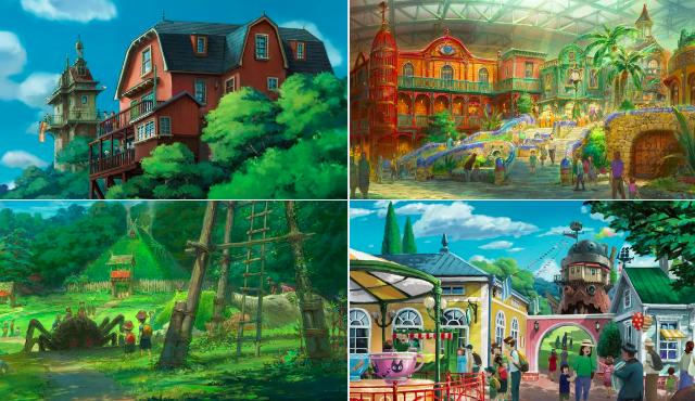 """Studio Ghibli : Les croquis du parc à thème avec """"Le Voyage de Chihiro"""", """"Le Château ambulant"""" et d'autres"""